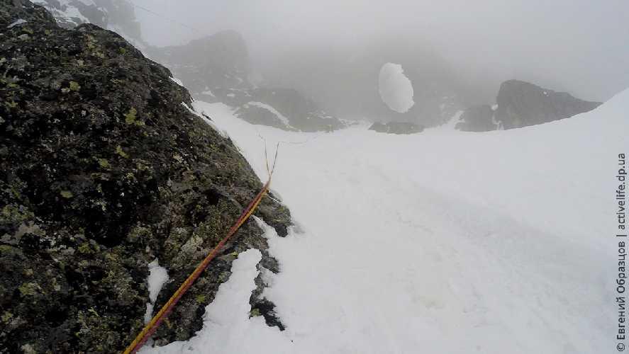 Наяриваем по снегу с одновременной страховкой в середине маршрута. Фото Евгений Образцов