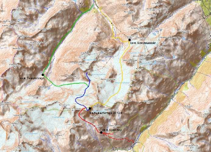 Маршруты на Вильдшпитце (Wildspitze). Фото alpina . guide