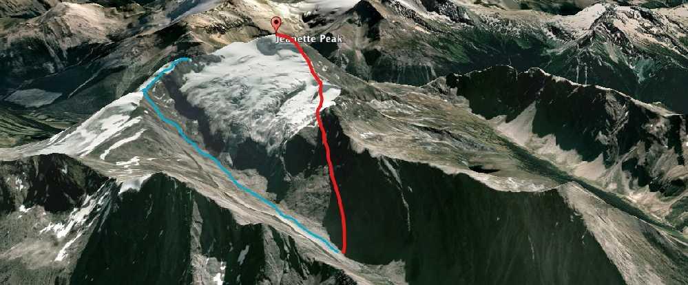 Восхождение на пик Жаннетт: маршрут синего цвета показывает первую попытку команды, завершенную на отметке 2956 метров перед крутым скальным участком.<br>Маршрут красного цвета - успешное восхождение на вершину во второй попытке. Фото Lonnie Dupre