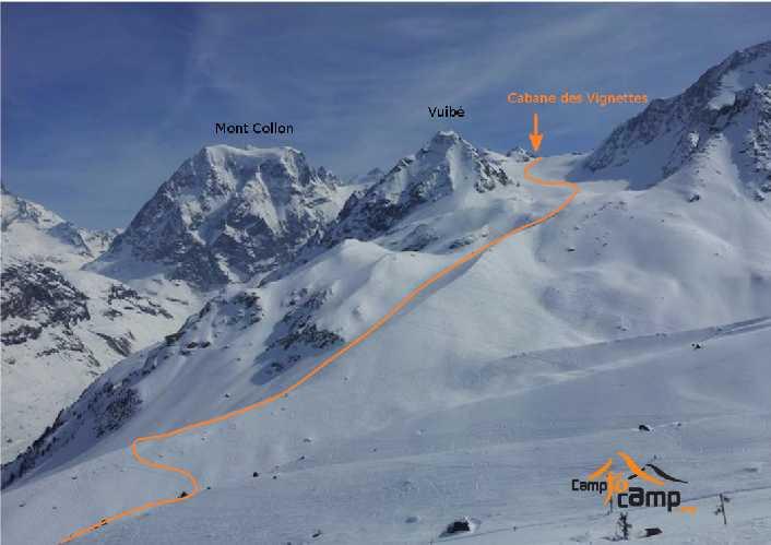 Путь к горной хижине Vignettes. Фото camptocamp . org