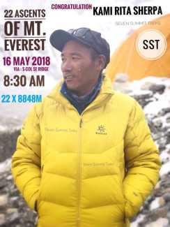 Новый мировой рекорд на Эвересте: Ками Рита Шерпа поднялся на вершину мира в 22-й раз!