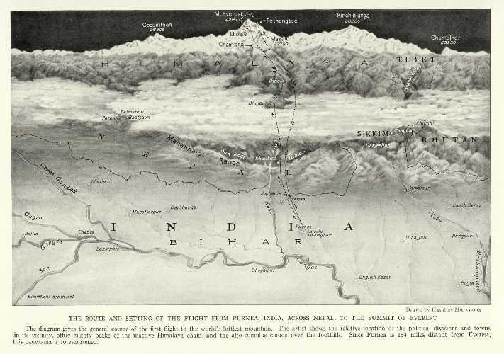 Карта Эвереста и окрестностей. 1933 год. Фото National Geographic