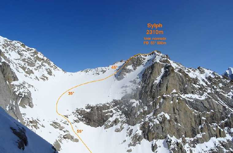 Линия горнолыжного спуска с южного склона горы Sylph. Фото Matthieu Rideau