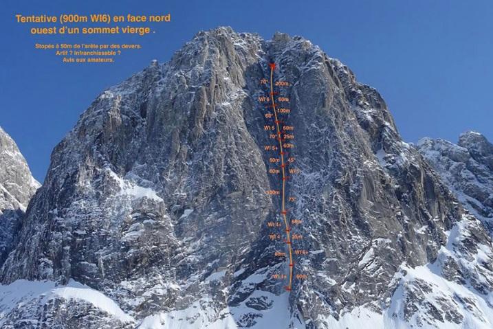 Незаконченный французский маршрут на северной стене горы Апокалипсис (Apocalypse). Фото Matthieu Rideau