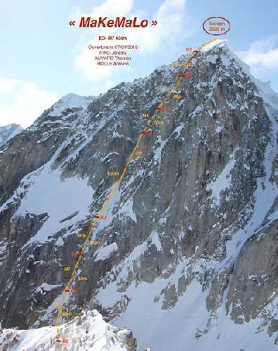 Французский маршрут по центру северо-западной стены горы Seraph. Фото Matthieu Rideau