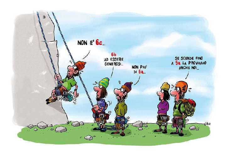 Проблема субъективных оценок категорий сложности скалолазных маршрутов. Рисунок Caio Comix / caiocomix . com