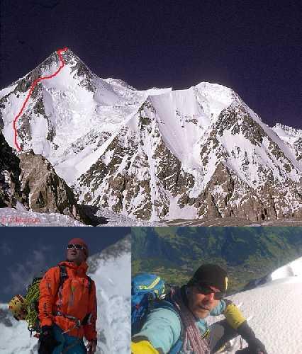 Гашербрум I (Gasherbrum I, 8080 м)  - новый чешский маршрут по Юго-Западной стене. Марек Холечек (Marek Holeček) на фоне Гашербрум I и Зденек Хачек (Zdeněk Háček Hák)