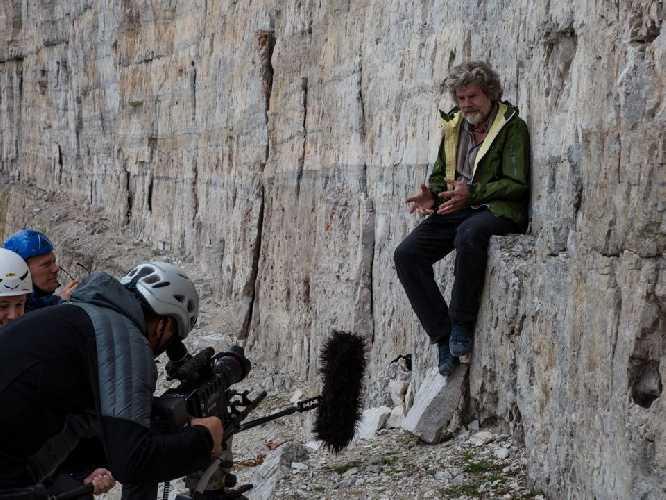 Райнхольд Месснер (Reinhold Messner) на съемках фильма Großen Zinne