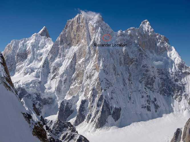 Место где находился Александр Гуков на горе Латок I (Latok I, 7145 метров). Фото mountain.ru