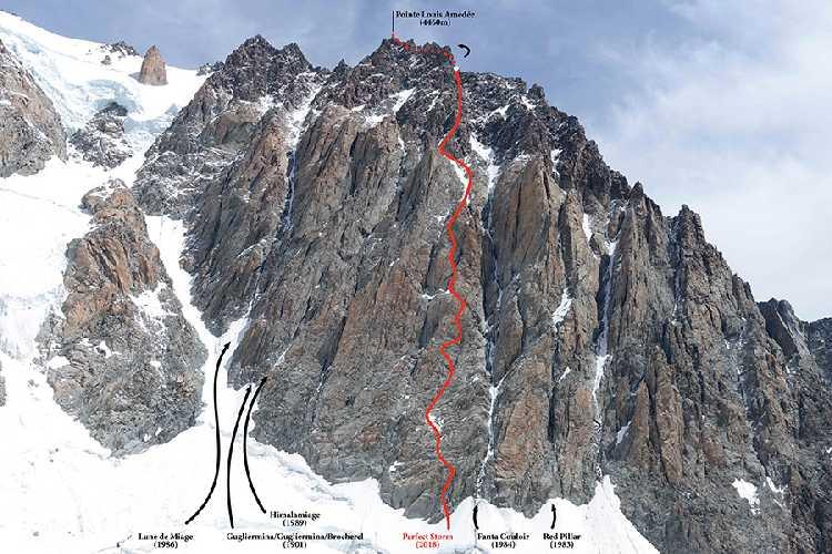 Часть маршрута Perfect Storm  (700м, ED1, 6a+) на вершину Пикко Луиджи Амедео (Pointe Louis Amédée) по стене Миаж (Miage face) на итальянской стороне Монблана. Фото Simon Richardson