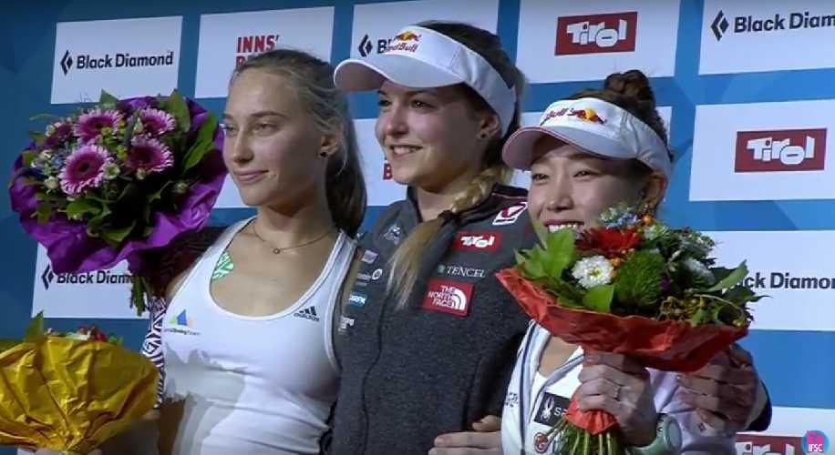 Финалистки Чемпионата Мира по скалолазанию 2018: <br>1 место: Джессика Пильц (Pilz Jessica), <br>2 место: Янья Гарнбрет (Janja Garnbret)<br> 3 место: Джейн Ким (Jain Kim)