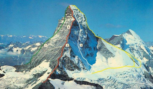 часть маршрута восхождения от Церматта на вершину Маттерхорна по ребру Хёрнли (Северо-Восточное ребро)