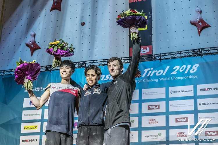 мужской подиум Чемпионата Мира в дисциплине боулдеринг: <br>1 место: Кай Харада (Kai Harada)<br>2 место: Джангвон Чон (Jongwon Chon)<br>3 место: Грегор Везоник (Gregor Vezonik)