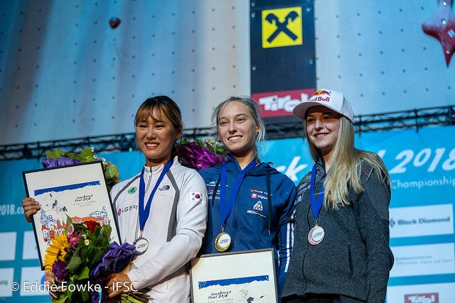 Женский подиум в комбинированном финале Чемпионата Мира по скалолазанию 2018
