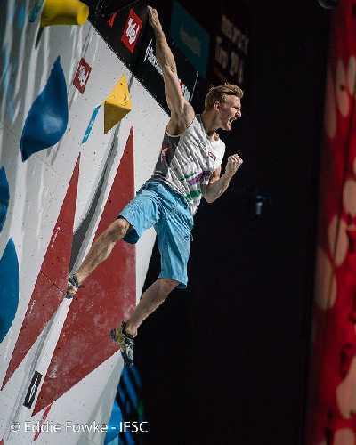 Якоб Шуберт в комбинированном финале Чемпионата Мира по скалолазанию 2018