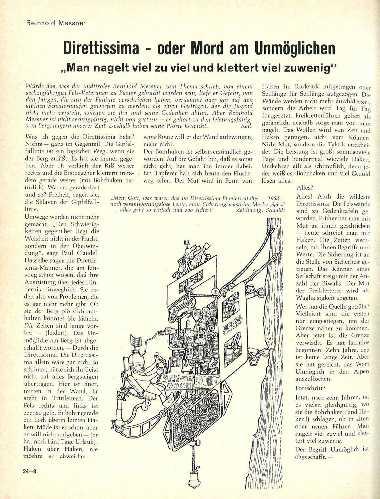 """Оригинальная статья «Direttissima - oder Mord am Unmöglichen», для подзаголовка, редакторы выбрали цитату из текста - """"Несомненно, слишком много шлямбуров и крючьев и слишком мало лазания"""". Журнал  «Alpinismus», 8/1968. Подпись под рисунком гласит: «Боже мой, эти первопроходцы в эпоху диреттиссимы-1968 были крайне безответственными, поднимаясь без без страховочной машины компании «Spezl»... теперь же всё так просто и безопасно."""