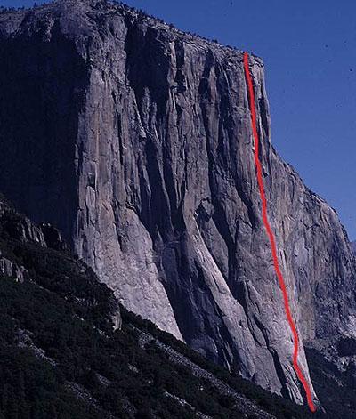 """мультипитчевый маршрут """"Salathe Wall"""" (35-и веревочная линия со сложностями 5.13 / C2) на скале Эль-Капитан"""