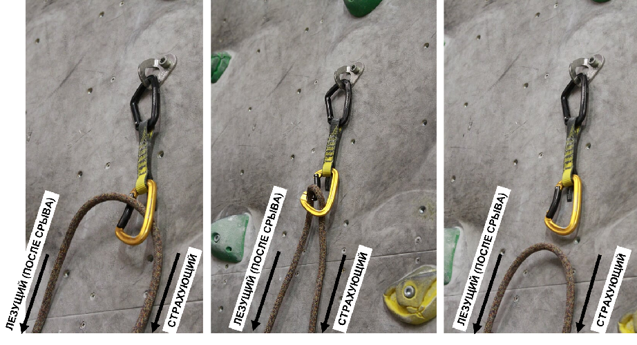 Выщелкивание веревки из оттяжки при срыве. Фото lmstn . ru
