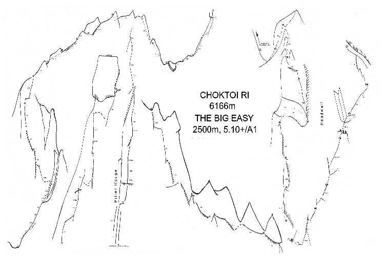"""Маршрут """"Big Easy"""" на вершину пика Чоктой Ри (Choktoi Ri) высотой 6166 метров в массиве Сума Бракк (Suma Brakk). Фото Фото  Alex Huber / Fabian Buhl"""