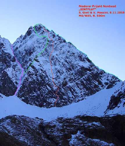 маршрут Sintflut - Deluge по Северной стене австрийской горы Прийакт (Prijakt) высотой 3056 метров.