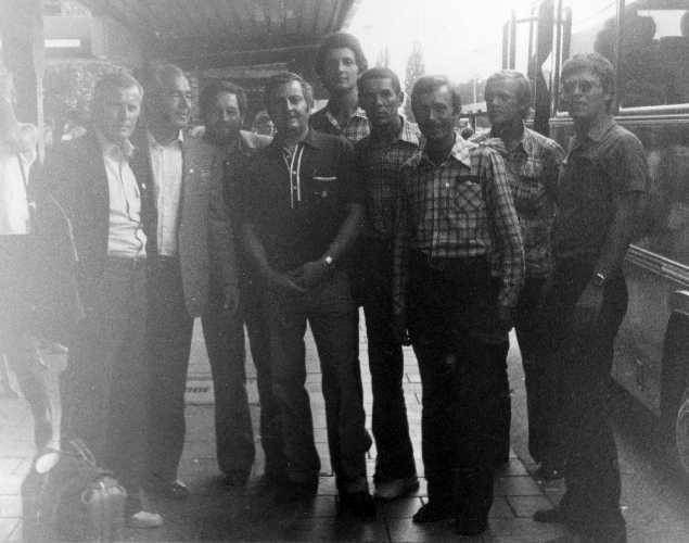 Мюнхен. Аэропорт. В.Буряк, В.Пастух, С.Бершов, В.Бахтигозин,  С.Бондаренко, Т.Грюнер, Г. Эттл (справа – налево).