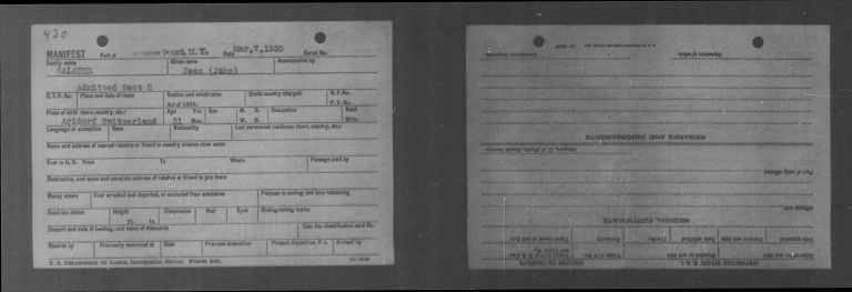Иммиграционный бланк Салате. 1930 год
