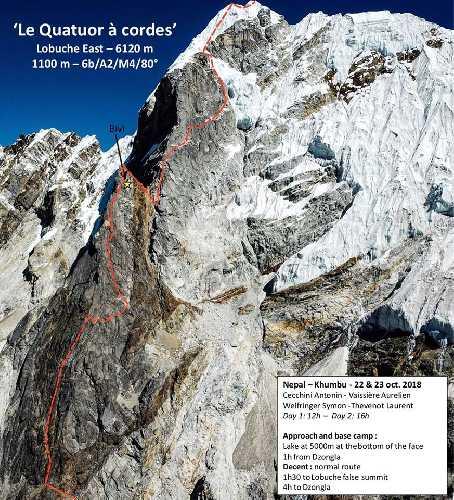 маршрута Le Quattro à Cordes на непальскую вершину Лобуче Восточная (Lobuche East, 6120 метров). Фото Symon Welfringer