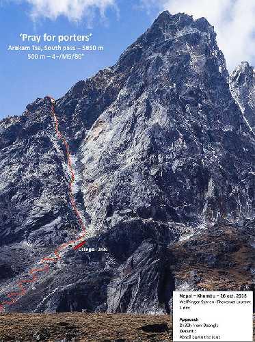 "маршрут ""Pray for porters"" на вершину  Аракам-Зе (Arakam Tse) высотой 5850 метров. Фото Symon Welfringer"