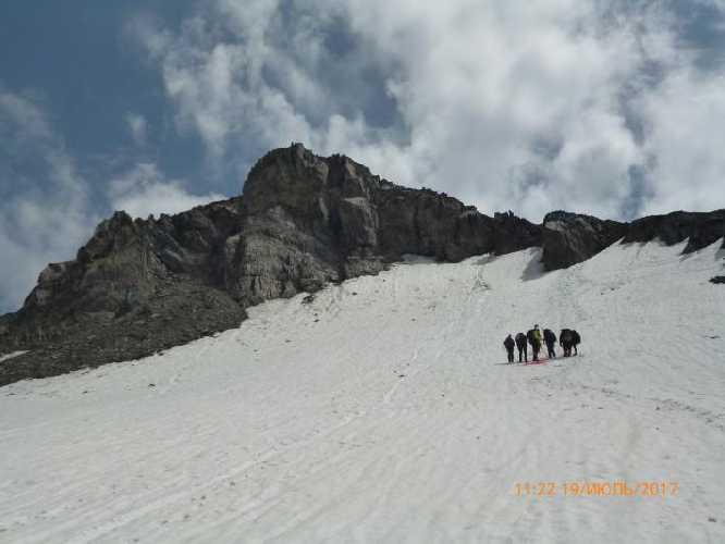 Прямо вверх над группой. И на гребень вправо. От гребня до вершины 150 м без категории. Фото Сергей Дидора