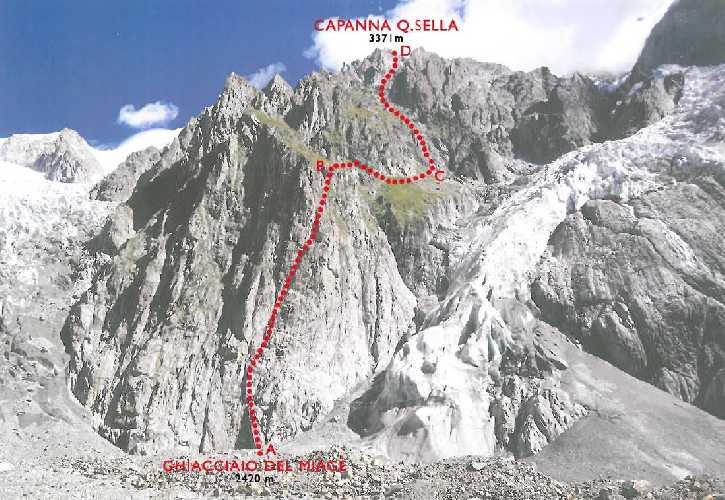 Новый маршрут восхождения к горной хижине Квинтино Селла (Quintino Sella) на итальянской стороне Монблана