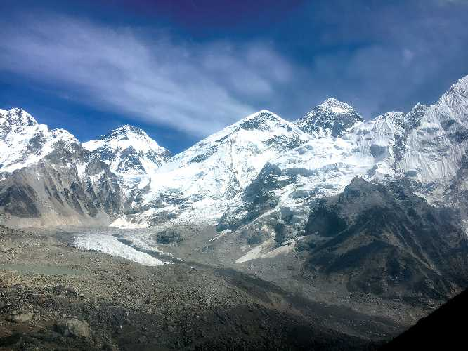 Ледник Кхумбу - самый высокий в мире, однако и он отступает со скоростью примерно 30 м/год. <br>Сегодня базовый лагерь альпинистов на Эвересте расположен на 50 метров ниже чем во времена Тенцинга и Хиллари в 1953 году. Фото Kunda Dixit