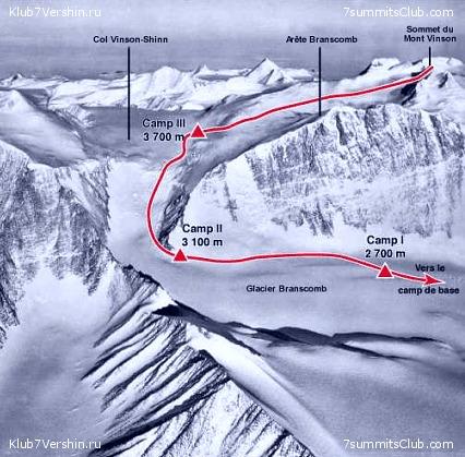 Маршрут восхождения на гору Винсон (Mount Vinson, 4892 метра)
