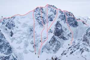 Новый маршрут на пик Орджоникидзе (4410 м) по северной стене