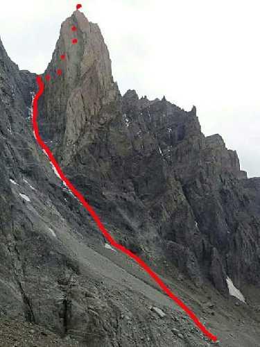Маршрут восхождения Дениса Урубко и Марии Карделл на вершину Мойон Рохо (Mojon Rojo, 2170 метров). Фото Денис Урубко