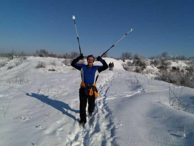 Бег с палками в гранитном карьере - моя любимая тренировка. Как то тяжело после перелома таза всё проходило. Фото Сергей Дидора