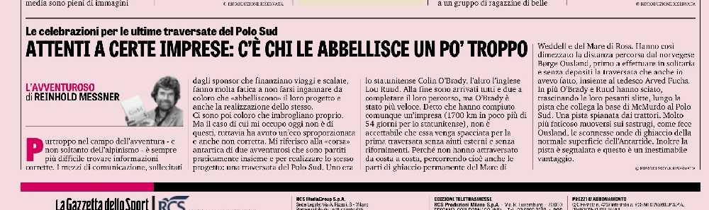 Статья Райнхольда Месснера (Reinhold Messner) в «Gazzetta dello Sport»
