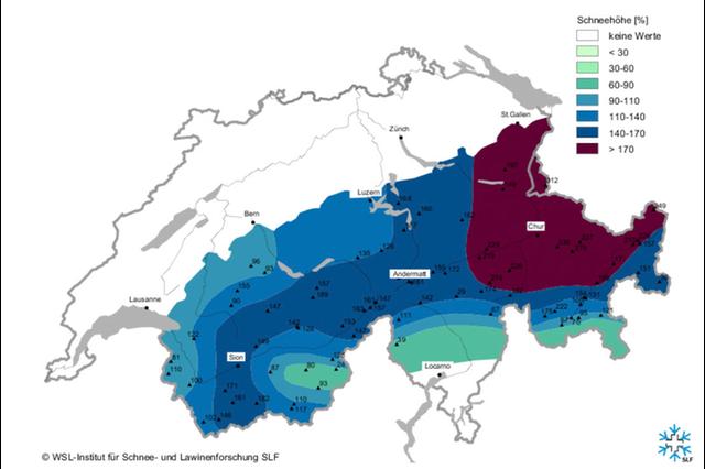 Актуальная карта лавиноопасности в горах Швейцарии. Внимание: информация постоянно обновляется! Фото WSL