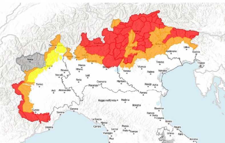 Карта лавинной опасности в Альпах на 2-3 февраля 2019 года. Фото Aineva.it
