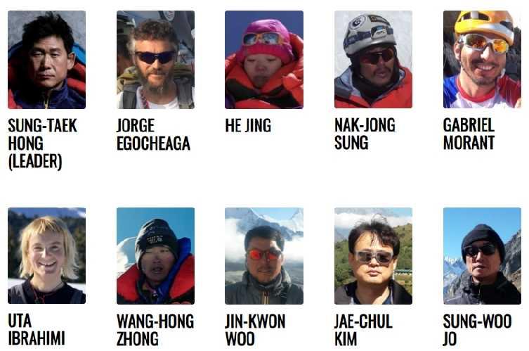 Состав команды Сунг Таек Хонга (Sung Taek Hong) к южной стене Лхоцзе в 2019 году