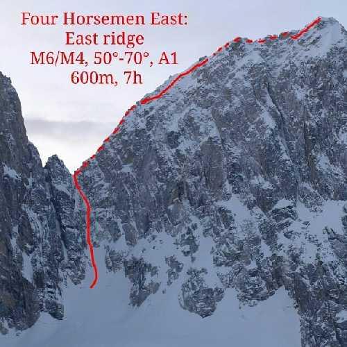 маршрут по восточному хребту, M6/M4, 50°-70°, A1, 600 м