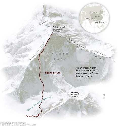 """Планируемый новый маршрут ан Эверест Кори Ричардса (Cory Richards) и Эстебана """"Топо"""" Мена (Esteban """"Topo"""" Mena)"""
