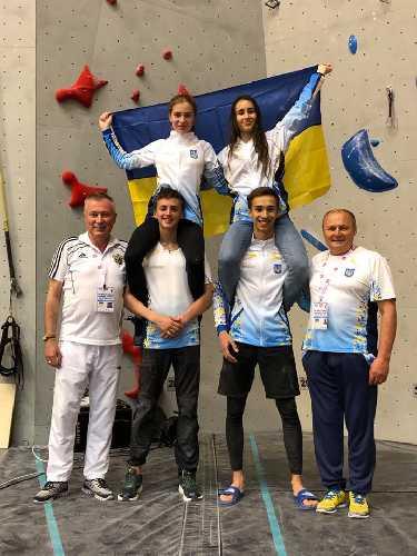Украинская команда скалолазов на Чемпионате Мира по скалолазанию среди школьников