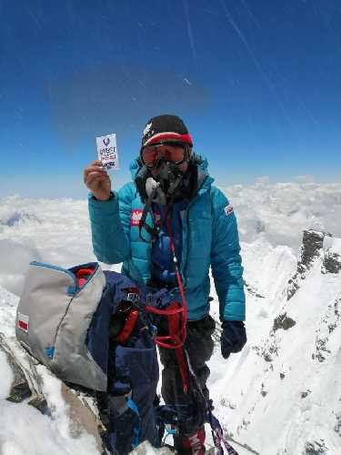 Моника Витковская (Monika Witkowska) на вершине Лхоцзе. Фото Monika Witkowska