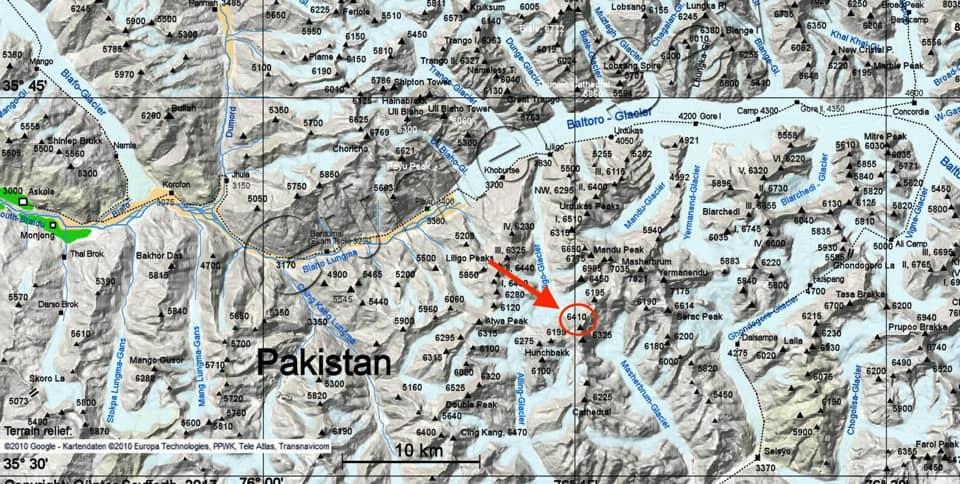 безымянный пик высотой 6400 метров. Место пропажи без вести китайских альпинистов