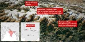 Тела семи альпинистов, пропавших в конце мая, обнаружили у горы Нандадеви Восточная в Индийских Гималаях