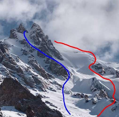 Синяя линия - маршрут восхождения на вершину Чашкин I (Chashkin I) высотой 6035 метров. Красная линия - маршрут спуска на лыжах. Фото Tico Gangulee