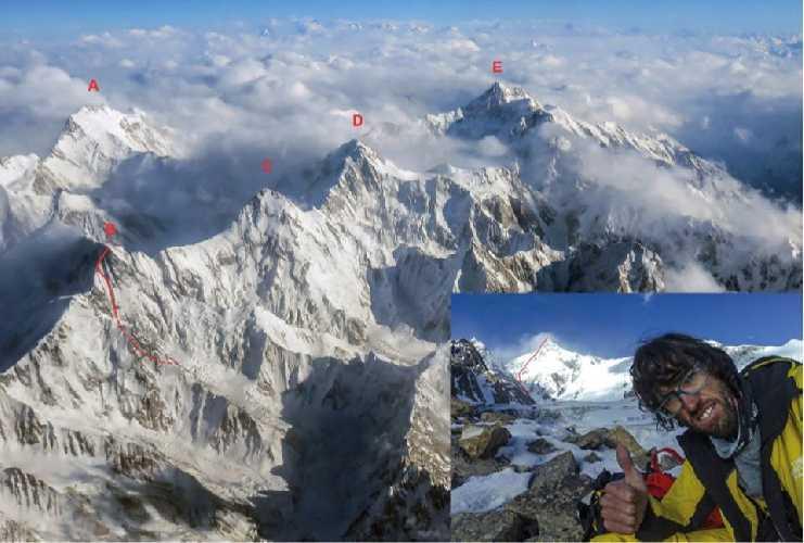 Маршрут Хансйорга Ауэра на Лупгхар Сар Западная (Lupghar Sar West, 7181 м) - обозначено буквой В.<br>Другие вершины массива:  (A) Distaghil Sar (7,885 м), (C) Momhil Sar (7,414 м), (D) Trivor (7,728 м) и (E) Khunyang Chhish (7,852 м).