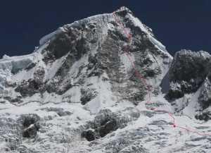 Чешские альпинисты открывают новый маршрут на вершину перуанской горы Хуандой Северный