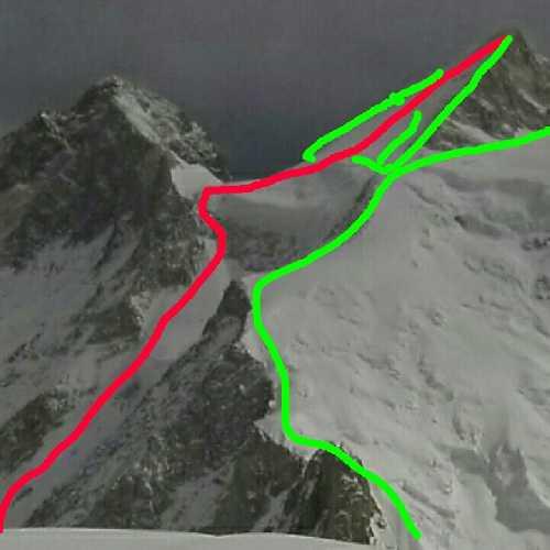 маршрут Honeymoon, красная линия. на вершину восьмитысячника Гашербрум II (Gasherbrum II, 8034 м)
