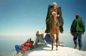 Впервые за 20 лет на вершину Эльбруса поднялись верхом на лошадях!